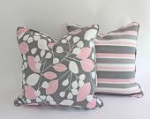 Contemporary Pink and Grey Lumbar Pillow Cover with Leaves and Stripes. $40.00, via Etsy.