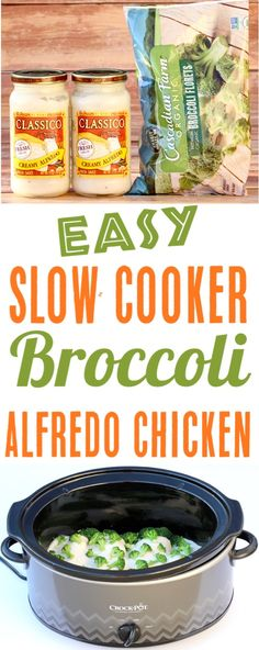 Chicken recipes with slow cooker Simple crockpot broccoli alfredo chicken! Only 3 Ingr … Chicken recipes with slow cooker Simple crockpot broccoli alfredo chicken! Only 3 Ingr … Slow Cooker Chicken, Slow Cooker Broccoli, Slow Cooker Huhn, Low Carb Crockpot Chicken, Low Carb Slow Cooker, Easy Chicken Recipes, Easy Healthy Recipes, Easy Meals, Easy Crockpot Recipes