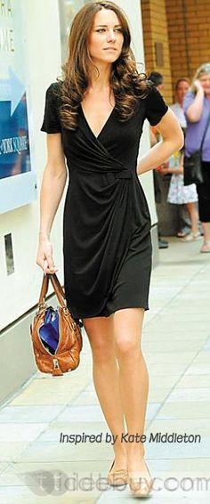Charming V-neck Short / Mini Chiffon over Satin Black Homecoming / Prom Dress-Like Kate Middleton Dress