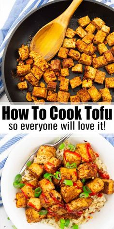 How To Cook Tofu People often thing that tofu is boring and plain. But it's the very opposite! If prepared right it's super versatile, packed with protein, and very delicious. Learn how to cook tofu and make it the new super star in your kitchen! Firm Tofu Recipes, Best Tofu Recipes, Vegan Dinner Recipes, Veggie Recipes, Vegetarian Recipes, Cooking Recipes, Healthy Recipes, Recipes Using Tofu, Cooking Tofu Easy