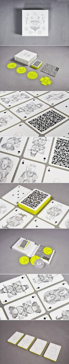 I like how these playing cards are black and white through out using only one colour (lime) for the sides which creates a sleek, clean and unique effect.