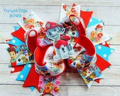 Paw Patrol Hair Bow Paw Patrol Birthday Marshall Hair Bow Marshall Ott bow Marshall Sky Everest bow Paw Patrol Boutique Bow Stacked Bow by TretyakOlgaBows on Etsy
