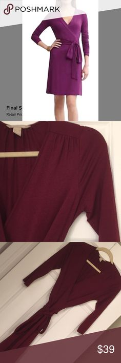 """Burgundy Banana Republic Wrap Dress Deep burgundy Gemma cotton feel wrap dress in XS, but would also fit S.  This is a true Wrap dress, Shoulder to hem approx 35"""". Excellent condition with no obvious signs of wear. Banana Republic Dresses Midi"""