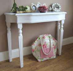 hallway WHITE AGED CONSOLE TABLE DRESSING TABLE French Vintage Shabby Chic   eBay Vintage Shabby Chic, French Vintage, White Console Table, Table Dressing, Farmhouse Decor, Entryway Tables, House Ideas, New Homes, Daughter