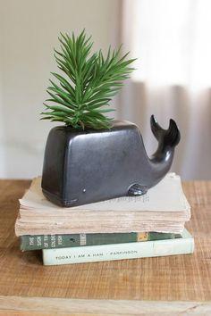 ceramic whale bud vase