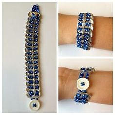 Brand-New-Upcycled-Pop-Tab-Bracelet-Blue-White-Polka-Fashion-Jewelry-Very-Cool