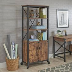 Display what you want and hide the rest with the Better Homes & Gardens Rustic Country Library Bookcase with Doors . This rustic bookcase features three. Home Office Decor, Diy Home Decor, Office Desk, Room Decor, Rustic Bookcase, Diy Home Bar, French Country Furniture, Farmhouse Furniture, Diy Rustic Decor