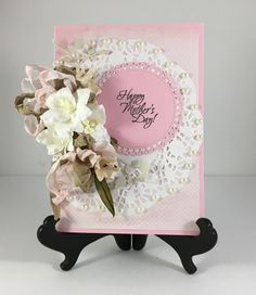 Free shipping in the US!! Truly a special Mother's Day card. White lilies and pretty pink and taupe ribbon on a paper doily. #merrycardscreations #handmadecards #etsy #floralcards