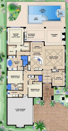 adobe house plans with courtyard – house plan 2017 adobe house plans with courtyard adobe house plans with courtyard home planning ideas 2017 filderstadt adobe The Plan, How To Plan, Exterior Wall Design, Stucco Exterior, Florida House Plans, Florida Home, Dream House Plans, House Floor Plans, Adobe Haus
