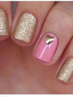 Valentine nails - simple glitter and stud