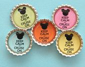 30 Keep Calm and Cruise On Disney Cruise Inspired Bottle Cap Magnet, great for fish extender gifts