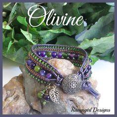 OLIVINE Gemstone Leather Wrap Bracelet By Ravengirl Designs on Facebook ~ $42 SHOP MAIN CATALOG ---> https://www.facebook.com/media/set/?set=a.1508975245990649.1073741949.1376895929198582&type=1