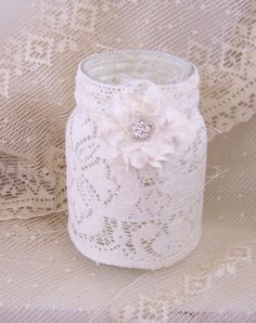 Wedding mason jar candle holder for centerpieces, table decor, lighting, vase, flameless candle included. $12.50, via Etsy.