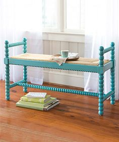 This Blue Wooden Spool Bench is perfect! #zulilyfinds