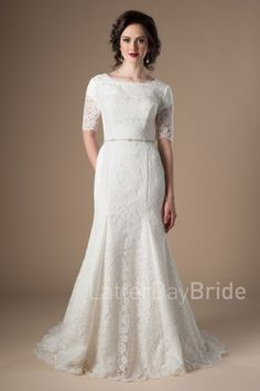 modest mermaid lds wedding dresses with a beaded belt, the Morgan in ivory at Latter Day Bride