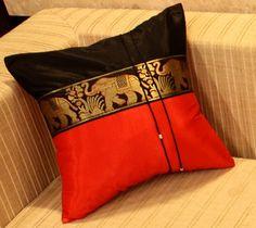 pillow--Thai Elephants Red & Black--Decorish Asian Home Decor