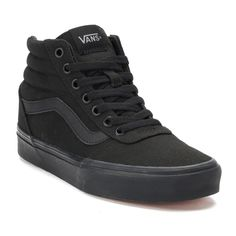 These Vans Ward Hi sneakers equip their street style with padded comfort. Black High Top Vans, Black High Heels, High Top Sneakers, All Black Shoes, Kids Sneakers, Cute Vans, Cute Shoes, Me Too Shoes, Top Shoes