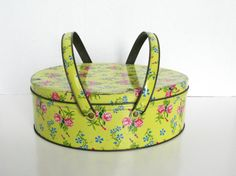 Vintage Metal Sewing Tin with Handles Yellow Floral by Sfuso