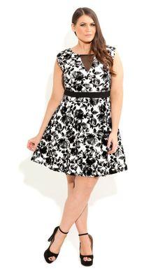 Plus Size Flocked Floral Dress - City Chic - City Chic
