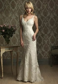 Silhouette: A-Line  Neckline: V-Neck  Gown Length: Floor  Train Style: Attached  Train Length: Sweep  Fabric: Lace, Charmeuse  Embellishments: Lace  Color: White, Ivory, or Champagne
