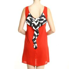 """Solid Red Dress With Bow Back Solid sleeveless dress with stripe now back body length: 32"""". 100% polyester. Lining underneath, so it's not see through 😊 Dresses"""