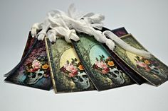 Skulls and Roses Tags / Set of 8 Skull by StaziesStitchsNStuff