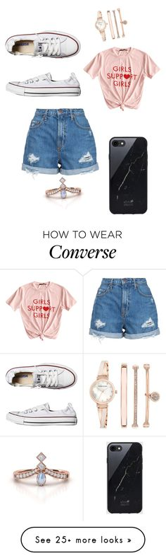 """Untitled #5295"" by fashionicon67 on Polyvore featuring Nobody Denim, Converse, Sefton and Anne Klein"