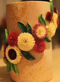 Fringed Flowers on Candle Holders