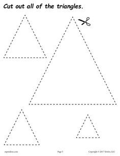 FREE cutting worksheets. Includes a triangle cutting practice worksheet plus 11 other shapes. Great for toddlers, preschool, and kindergarten! Get all of the shape scissor skills worksheets here --> http://www.mpmschoolsupplies.com/ideas/7556/12-free-printable-shapes-cutting-worksheets/