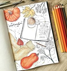 """𝓘𝓷𝓼𝓹𝓲𝓻𝓪𝓽𝓲𝓸𝓷 𝓯𝓸𝓻 𝓑𝓾𝓳𝓸 on Instagram: """"How amazing is this September cover by @ginger.bullet.journal 🍂 it's so atmospheric 🧡 • Follow @notebook_profile • • • • #bujospread…"""""""