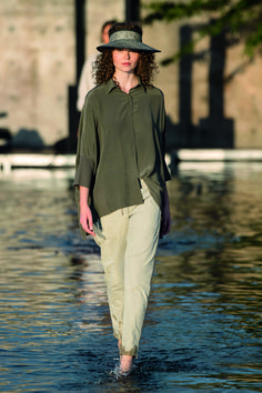 This is the Drill Oversized Blouse by Annette Gortz! This blouse is cut from lightweight drill and silk. Features a stand-up collar and front buttons. Perfect to wear it half-tucked into a pair of slim-leg jeans or almost with anything! Oversized Blouse, Ladies Tops, Slim Legs, Drill, Shop Now, Khaki Pants, Pairs, Buttons, Chic