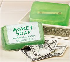 Money Soap! Perfect incentive for kids that are having trouble bathing – or maybe your smelly coworker that needs a hint. contains a $1, $5, $10, $20, or $50 dollar bill!