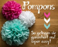 Heute möchte ich Euch zeigen, wie Ihr ganz schnell und super einfach diese herr… Today I want to show you how to quickly and easily create these beautiful pompoms yourself. Are not they just beautiful? I am absolutely thrilled and have you as a d … Decoration Christmas, Christmas Diy, Bracelets Hippie, Diy Pompon, Diy Crafts To Do, Diy Décoration, Baby Party, Paper Flowers, Party Time