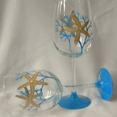 Starfish hand painted wine glasses by GlassesbyJoAnne on Etsy, $38.00