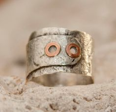 Sterling Silver and Copper Rivet Ring $65
