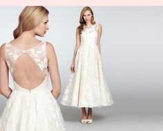 Nordstrom.com - Hayley Paige Lookbook | Nordstrom   Available for special order in our in-store Wedding Suites. Call 1.888.300.1295 or Live Chat with us to learn more. Hepburn Ivory Silk Organza Brocade Sheer Tea-Length Gown with Open Back, Bateau Neckline and Circular Skirt $3,883