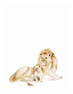 Lion and cub Watercolor Print - Lion art - Lion Painting - Safari Animal - Safari Animal Painting  - baby room art - lion cub - watercolor by FoxHollowDesignCo on Etsy https://www.etsy.com/listing/240380941/lion-and-cub-watercolor-print-lion-art