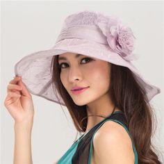 Elegant lace flowers sun hat for women summer wear
