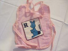 Baby Bib Pink Gingham & Rabbit Patch