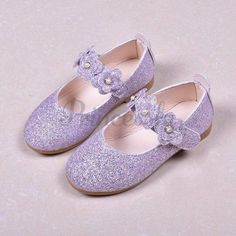 Black / Green / Lavender Leather Sequin Pearl Flat Princess Shoes Wedding Flower Girl Shoes #Black #Green #Lavender