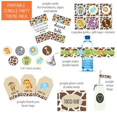 Printable Jungle Party Theme Pack - PrintItBaby.com - Print It Baby