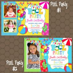 Pool Party Summer Birthday Party Invitations or Thank You Cards Printable Uprint Digital Printed * 4 designs * or by KDesigns2006