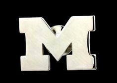 Medium University of Michigan Polished Stainless Steel Cut-Out Block 'M' Lapel Pin www.belizadesign.com