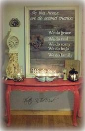 Framed pallet wood poem with added wreath. Stilettos In The Mud Decorating for Christmas  ~*~*~*~General Pallet is the Largest Distributor of Pallets in the Northeast. We are one of the largest #pallet recyclers in the United States. We believe in promoting the responsible use of pallets after they leave the distribution cycle. Help us keep this world a better place and #repin these great #upcycle ideas! www.generalpallet.com