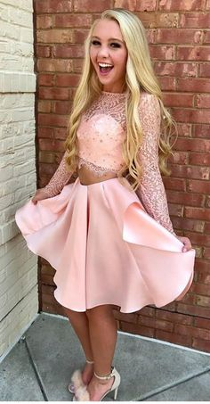 Two Piece Homecoming Dresses,Long Sleeves Homecoming Dress,Pink Homecoming Dresses,Short Homecoming Dress DS321 short #pink #satin #teopieces #lace #longsleeves #homecoming #okdresses