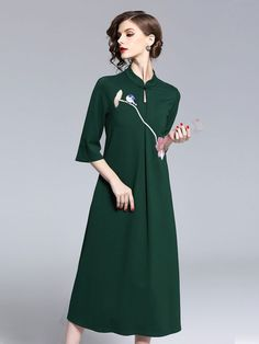 Embroidered Maxi Tea Qipao / Cheongsam Dress Cheongsam Dress, Chinese Clothing, Hanfu, Dress P, Traditional Outfits, Cold Shoulder Dress, Short Sleeve Dresses, Clothes For Women, Womens Fashion