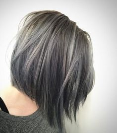 Grey Highlights In Dark Brown Hair 35 smoky and sophisticated ash brown hair color looks 564 X 564 pixels Winter Hairstyles, Cool Hairstyles, Hairstyles 2016, Hairstyle Ideas, Grey Bob Hairstyles, Roman Hairstyles, Easy Hairstyle, Style Hairstyle, Medium Hairstyles