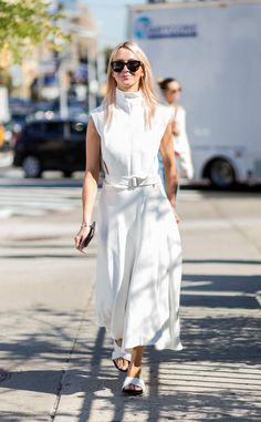 Zanna Roberts Rassi from Street Style at New York Fashion Week Spring 2017 Zanna's a vision in white, and her slides are pretty perfect, too.
