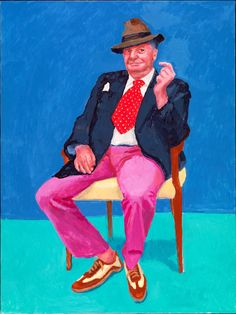 This greetings card features David Hockney RA's technicolour portrait of Barry Humphries, currently in the Royal Academy's 'David Hockney: 82 Portraits and 1 Still-life' exhibition. David Hockney Portraits, David Hockney Art, David Hockney Paintings, Peter Blake, Pop Art, Barry Humphries, Jenny Saville, Guggenheim Bilbao, Royal Academy Of Arts