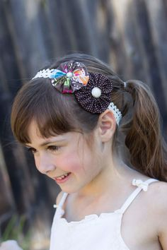 Brown YoYo Flowers Headband